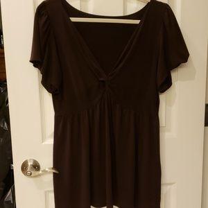 Brown Short Sleeve Blouse